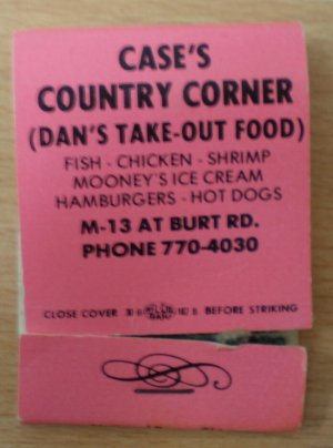Vintage Matchbook Case Country Corner Restaurant  Burt Michigan Matches