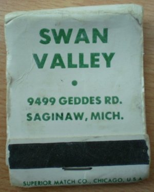 Vintage Matchbook Swan Valley Restaurant Saginaw Michigan Matches