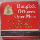 Vintage Matchbook Bangkok Officers Open Mess Chao Phya Hotel Matches