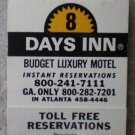 Vintage Matchbook Days Inn Lodge Atlanta Georgia Matches