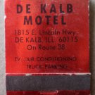 Vintage Matchbook De Kalb Motel Red Lincoln Highway Route 38 Illinois Matches
