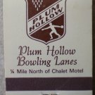 Vintage Matchbook Plum Hollow Bowling Lanes Dixon Illinois Matches