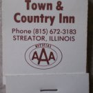 Vintage Matchbook Town Country Inn Streator Illinois Brown Matches
