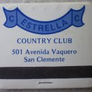 Vintage Matchbook Estrella Country Club San Clemente California Matches