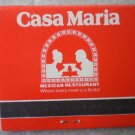 Vintage Matchbook Casa Maria Mexican Restaurant California Matches