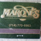Vintage Matchbook Marone Italian Restaurant Laguna Hills California Matches