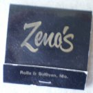 Vintage Matchbook Zeno's Motel Black Rolla Sullivan Missouri Matches