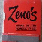 Vintage Matchbook Zeno's Steak House Motel Red Rolla Sullivan Missouri Matches