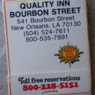 Vintage Matchbook Quality Inn Bourbon Street New Orleans Louisiana Matches