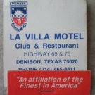 Vintage Matchbook La Villa Motel Club Restaurant Red Stripe Denison Texas Matches