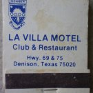 Vintage Matchbook La Villa Motel Club Restaurant Denison Texas Matches