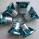 Plastic Bell Ornaments Lot 6 Blue Striped No Ringer Christmas Decoration