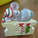 Lefton Vintage Mouse and Cheese Salt Pepper Shaker Set Japan Christmas Sleeping