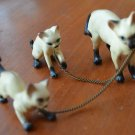 Vintage Ceramic Siamese Cat with Kittens 3 Figurines Chain