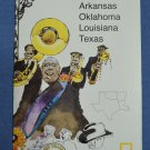 Close Up USA Map 5 Arkansas Oklahoma Louisiana Texas National Geographic 1986