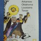 Close Up USA Map 5 Arkansas Oklahoma Louisiana Texas National Geographic 1986