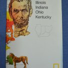 Close Up USA Map 7 Illinois Indiana Ohio Kentucky National Geographic 1986
