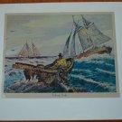 Lionel Barrymore Fishing Banks Foil Print Vintage Animal Boats Ocean