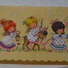 Vintage Coronation Collection Christmas Card Beige 3 Girls Candles Lamp Donkey
