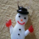 Vintage Glass Charm Hand Blown Snowman Christmas 1in