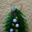Vintage Glass Charm Hand Blown  Christmas Tree Pine 7/8 in