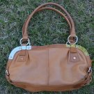 Makowsky Bag British Tan Leather Handbag Silvertone Metal Hardware Purse