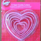 Wilton Cookie Cutters Heart Set/6 Nesting Plastic Pink Valentine's 2008 HK