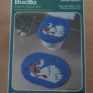 Bucilla Latch Hook Kit Christmas Swan Bath Ensemble Mat Lid 13281 Blue Deluxe