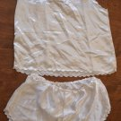 Vintage 2-piece Nightie Shirt Shorts 1980's White Off-White Embroidered