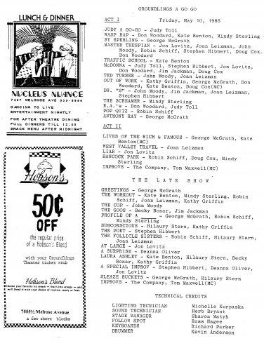 Groundlings A Go Go May 10 1985 Program Fliers Jon Lovitz Los Angeles