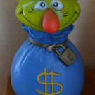 Vintage Mr Money Bags Piggy Bank 1971 Play Pal Plastics Blue Green Plug