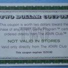 Vintage Atari Coupon Expired 1982 Two Dollars