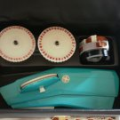 Sears Tapewriter Label Maker Turquoise Dymo Tape Case Vintage Kit Plastic