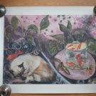 Siamese Cat Goldfish Poster Fish Bowl Sleeping Kitten Print Watercolor