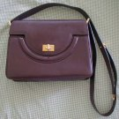 Vintage Bally Leather Bag Dark Brown Trapezoid Hard Purse