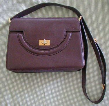 Vintage Bally Leather Bag Dark Brown Trapezoid Hard Purse