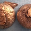 Pair Sterling Silver Buttons Cuff Soldier Mexico Antique