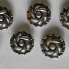 Silver Buttons Spiral Flower Lot 7 3/4in Vintage Metal