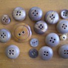 Lot 15 Vintage Buttons Wood Coconut Brown Tan