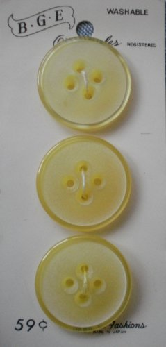 BGE Originales Buttons Yellow Plastic 3/card 9453 1in