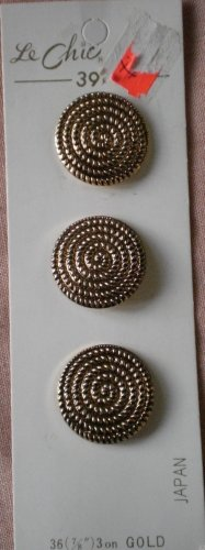 Le Chic Buttons Gold Metal Swirl Spiral 3/card Vintage 329