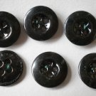 Vintage Black Buttons 4-hole Allemagne Metal Lot 6