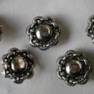Silvertone Metal Flower Button Lot 5 Vintage 3/4in Flower