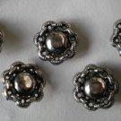 Silvertone Metal Flower Button Lot 5 Vintage 3/4in Flower