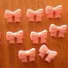 Pink Ribbon Buttons Plastic Bows Lot 12 Vintage Children Sewing Crafts 14mm