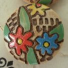 Vintage Wood Carved Buttons Flower 12/card Floral Wooden Self Shank 3/4in