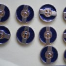 Metal Blue Enamel Gold Buttons Round 4-hole 2cm Lot 10