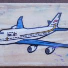 Rubber Stamp Airplane Mounted Wood 5x3.5 Plane Jet