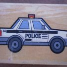 Rubber Stamp Police Car Mounted Wood 5x3.5 Engine