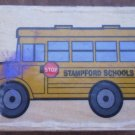Rubber Stamp School Bus Mounted Wood 5x3.5